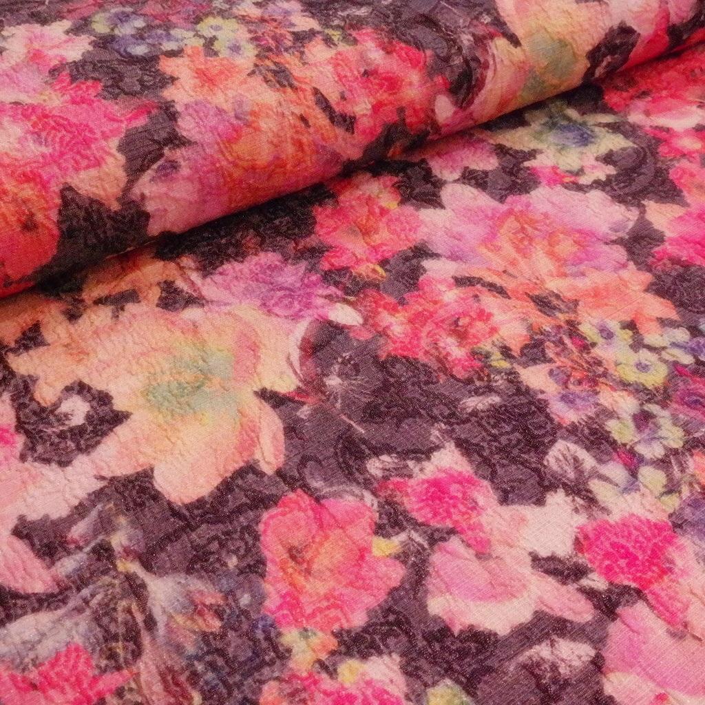 kostýmovka černo/barev.květ,kov vlákno