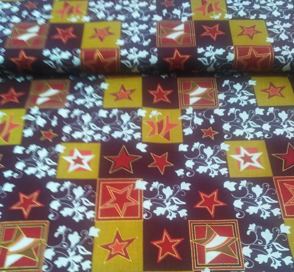 bavlna bord/zlaté hvězdy v kostce