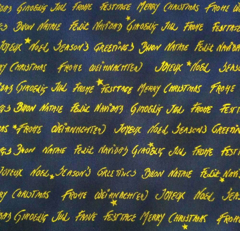 bavlna tm.modrá,zlaté písmo,vánoce-110