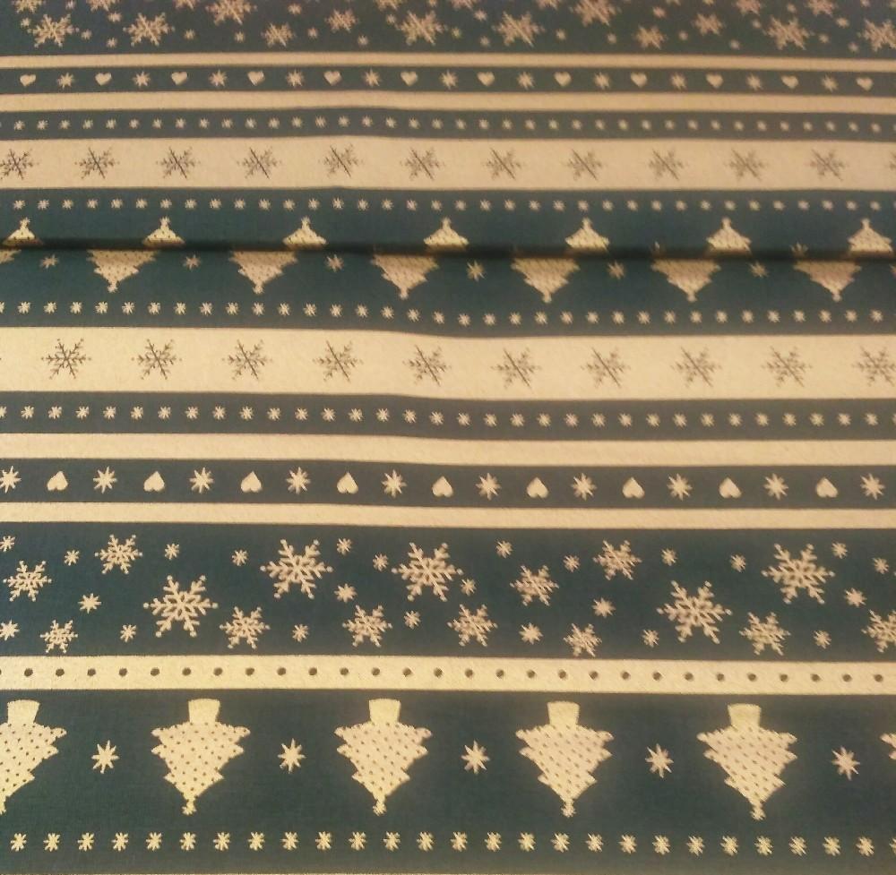 bavlna zelená zlatý pruh vánoce