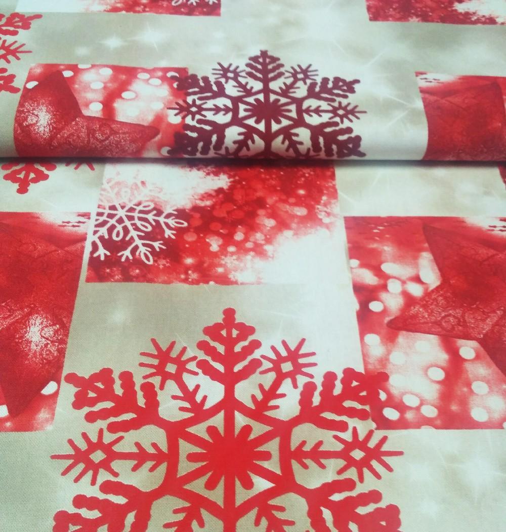 bavlna červeno/režná vločka vánoce