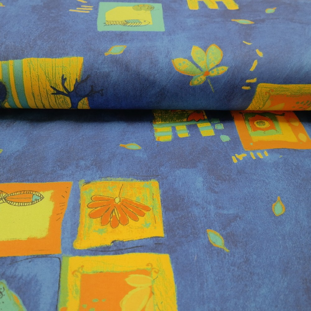 dekoračka modro oran.abst.vzor š.140