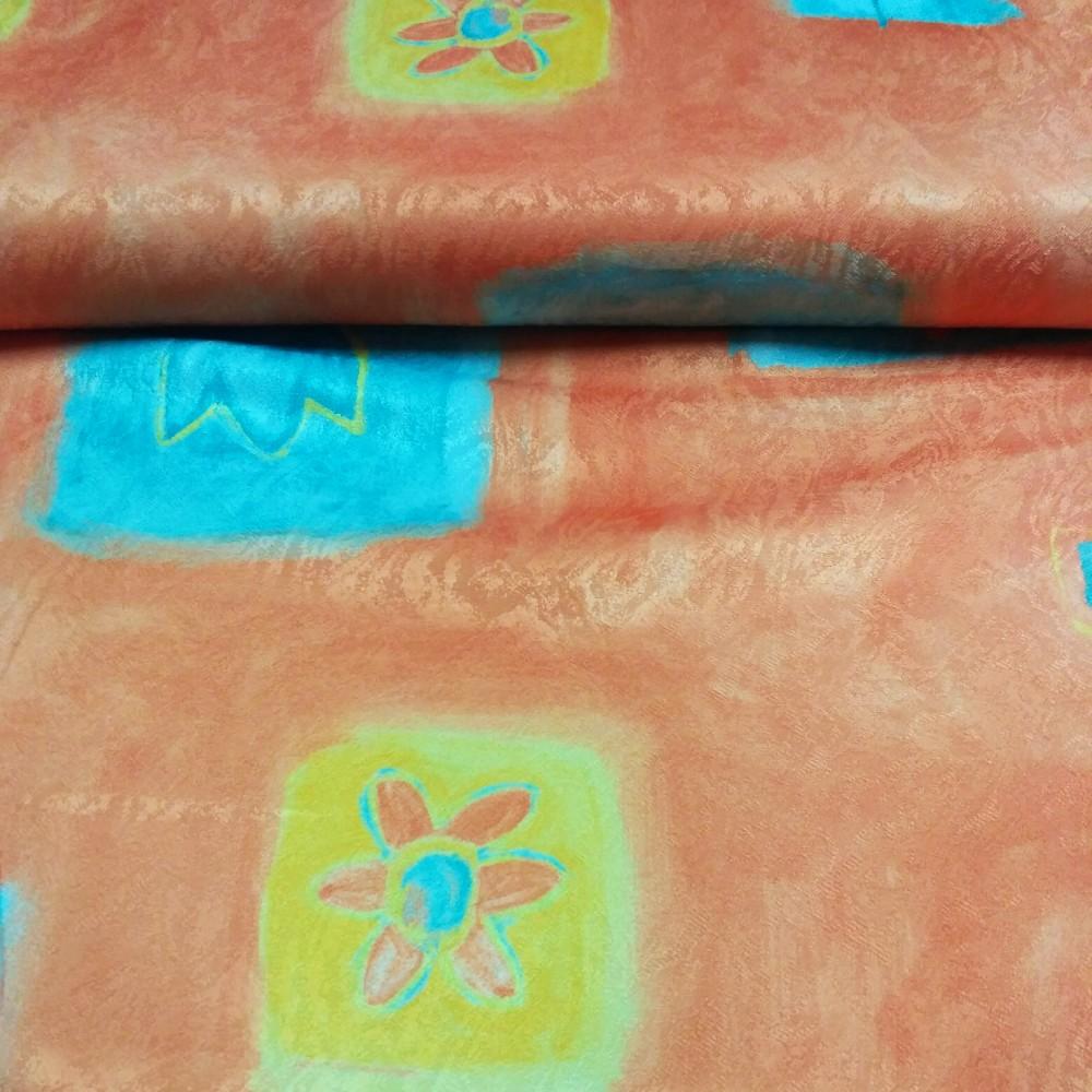 dekoračka losos/tyrk tulip zápl tisk