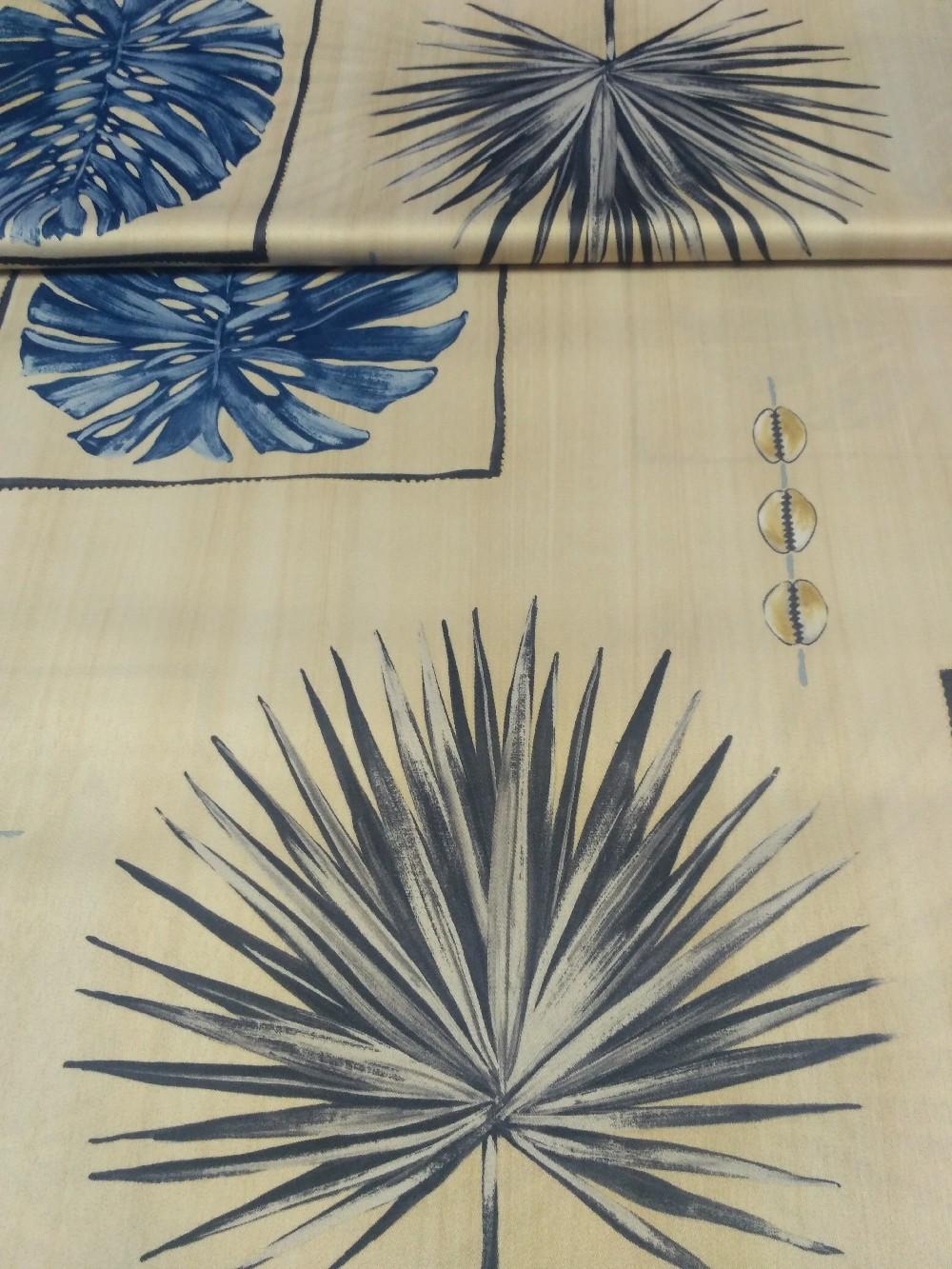 dekoračka béžová šedomodré listy š.150cm