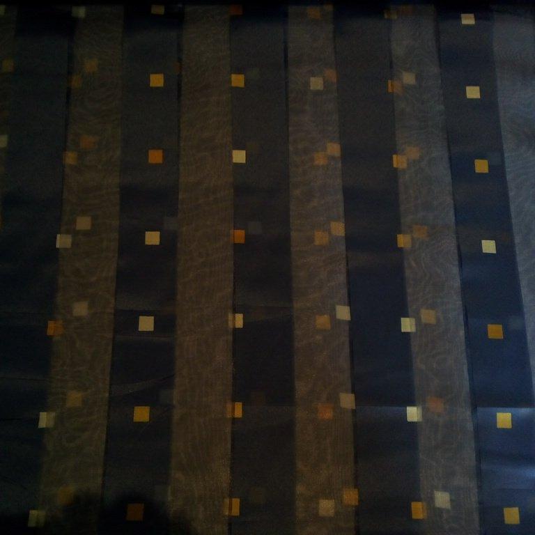 záclona modré pruhy kostičky 140