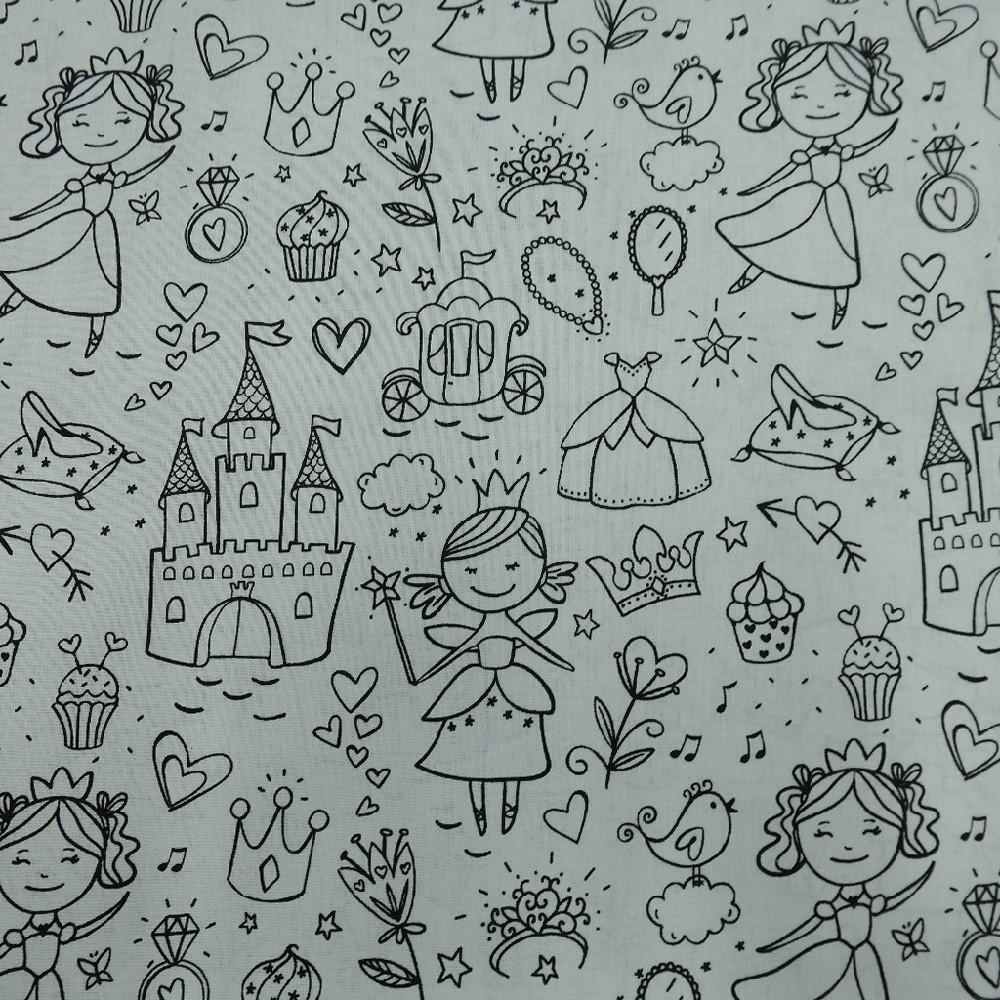 bavlna dětská vykreslovací princezna