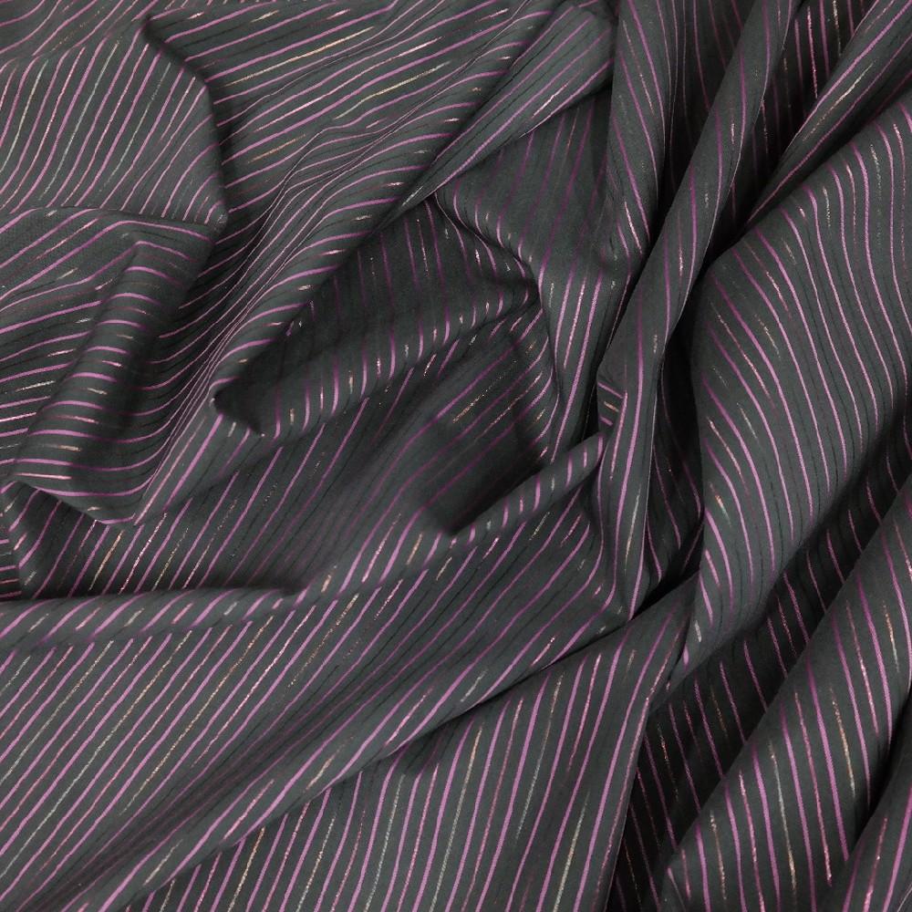 Košilovina černá řůžový proužek