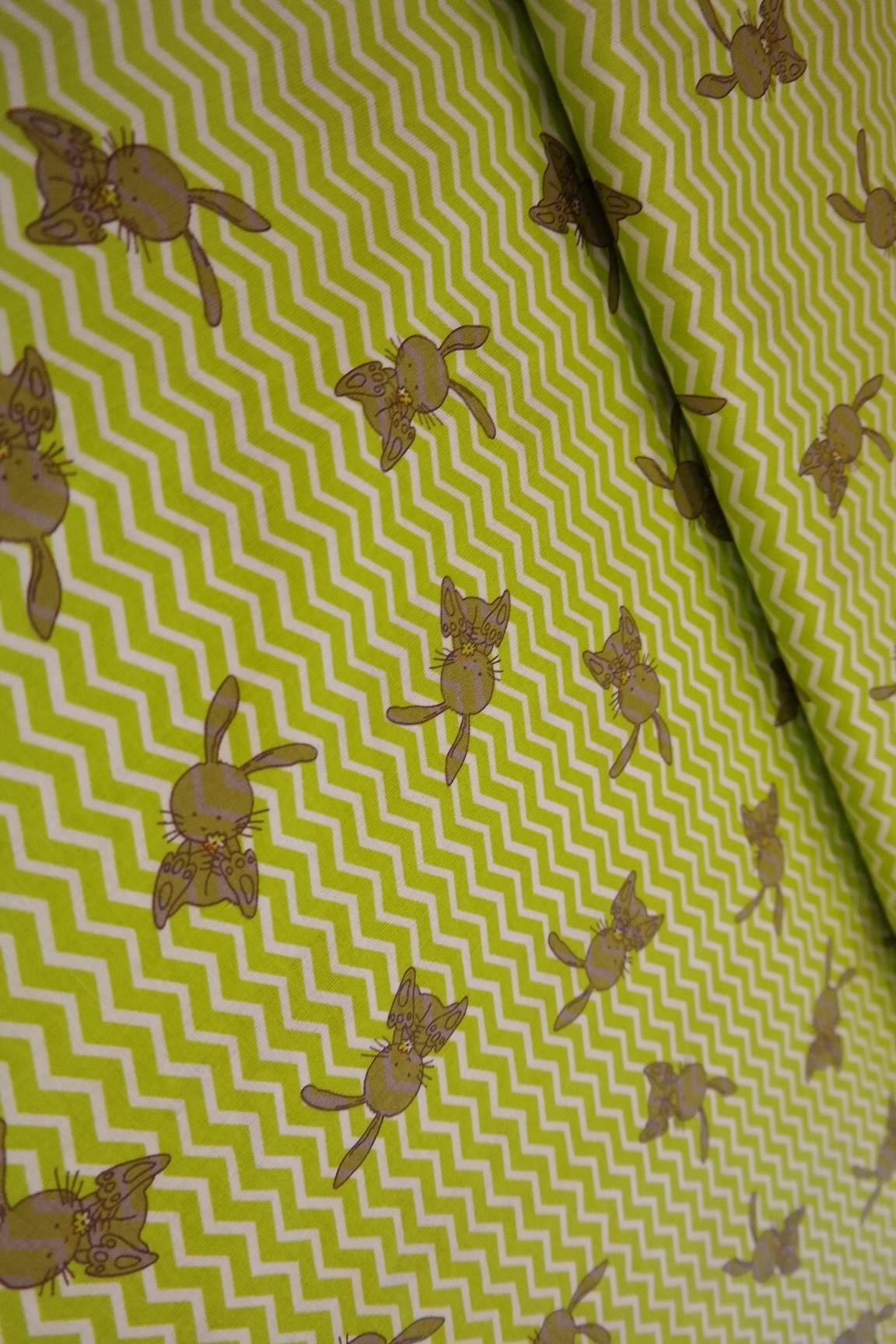 bavlna zelená cik/cak zajíc