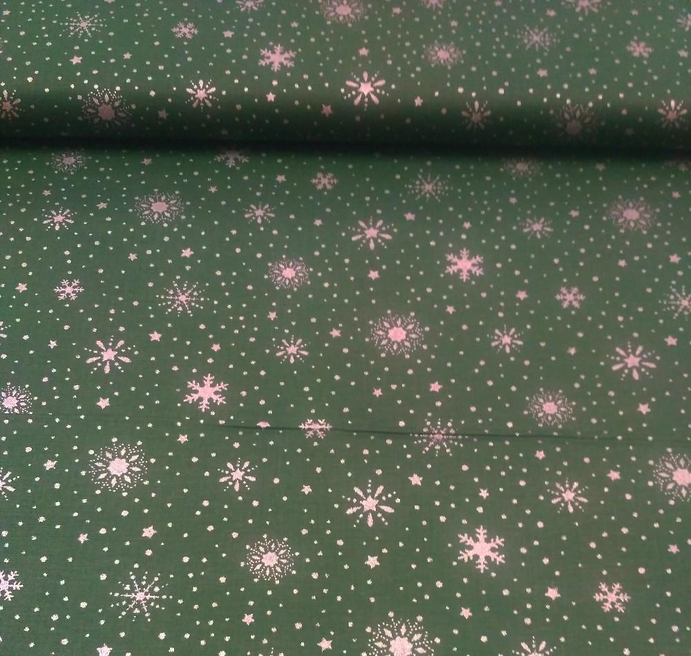 bavlna zelená vločky/hvězdy