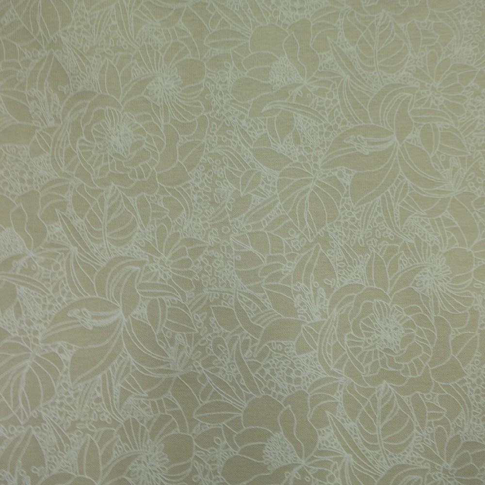 bavlna úplet béžovo-bílý květy