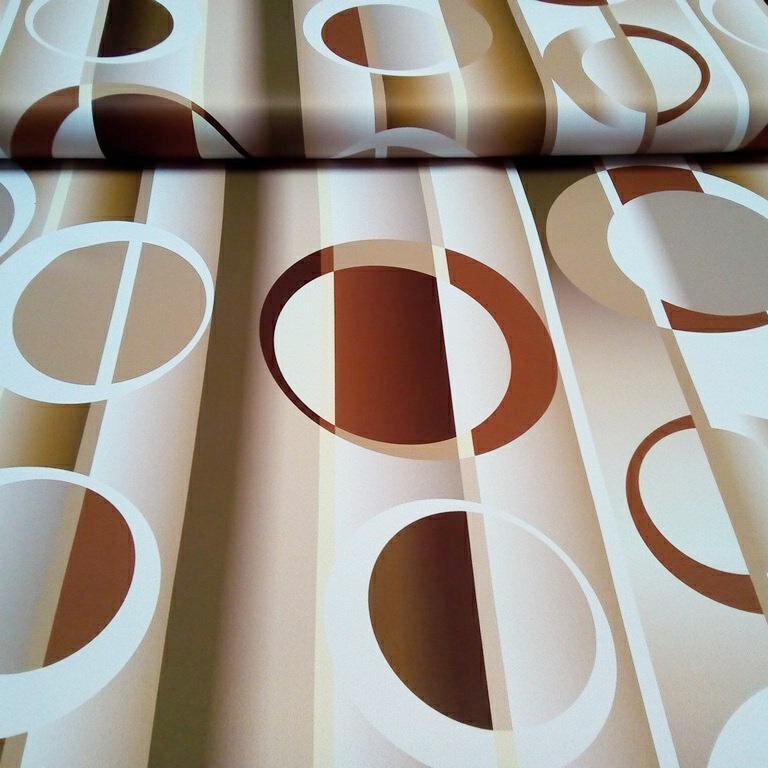 dekoračka blac out 10042/02/150 bílo hnědé kruhy
