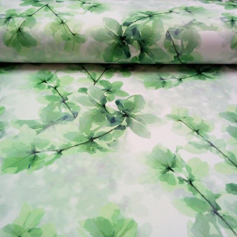dekoračka zeleno bílé listy 140