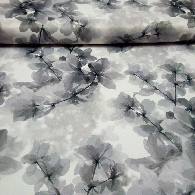 Black out bíli šede květy