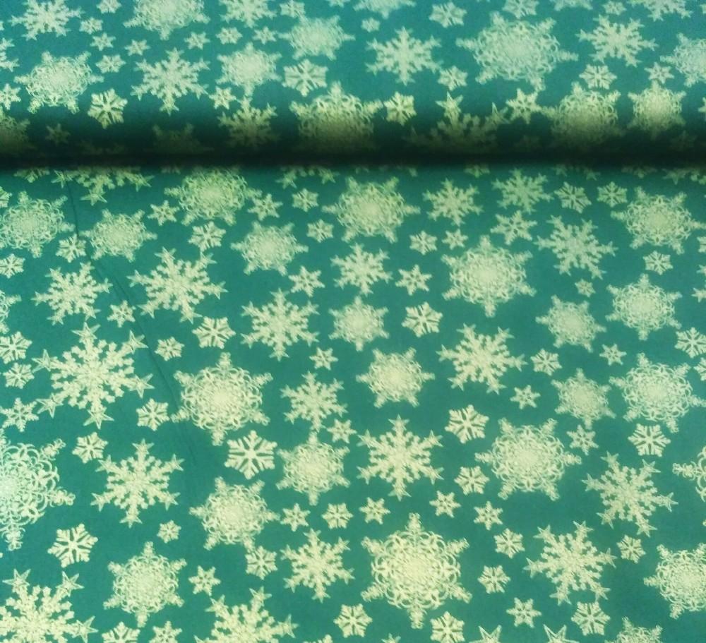 bavlna zlaté vločky, zelená 140 cm