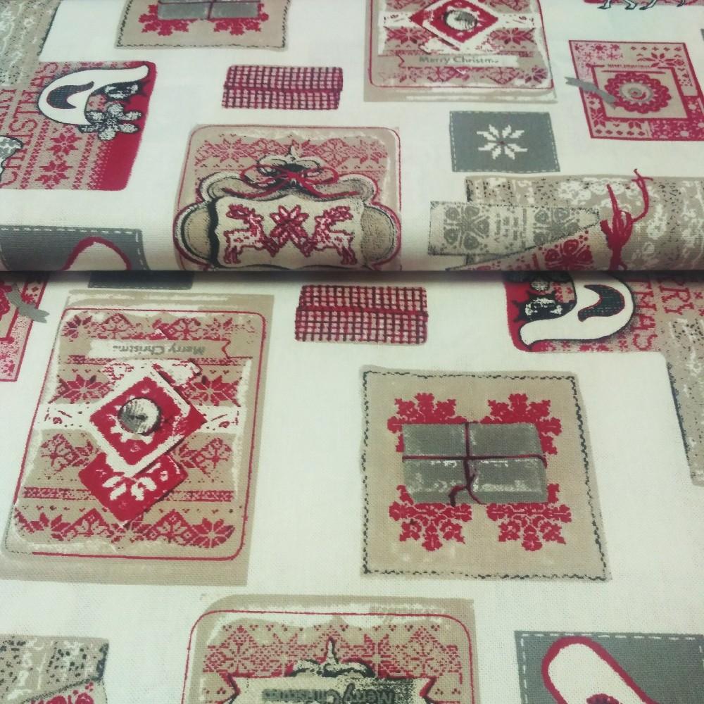bavlna režná záplaty vánoc