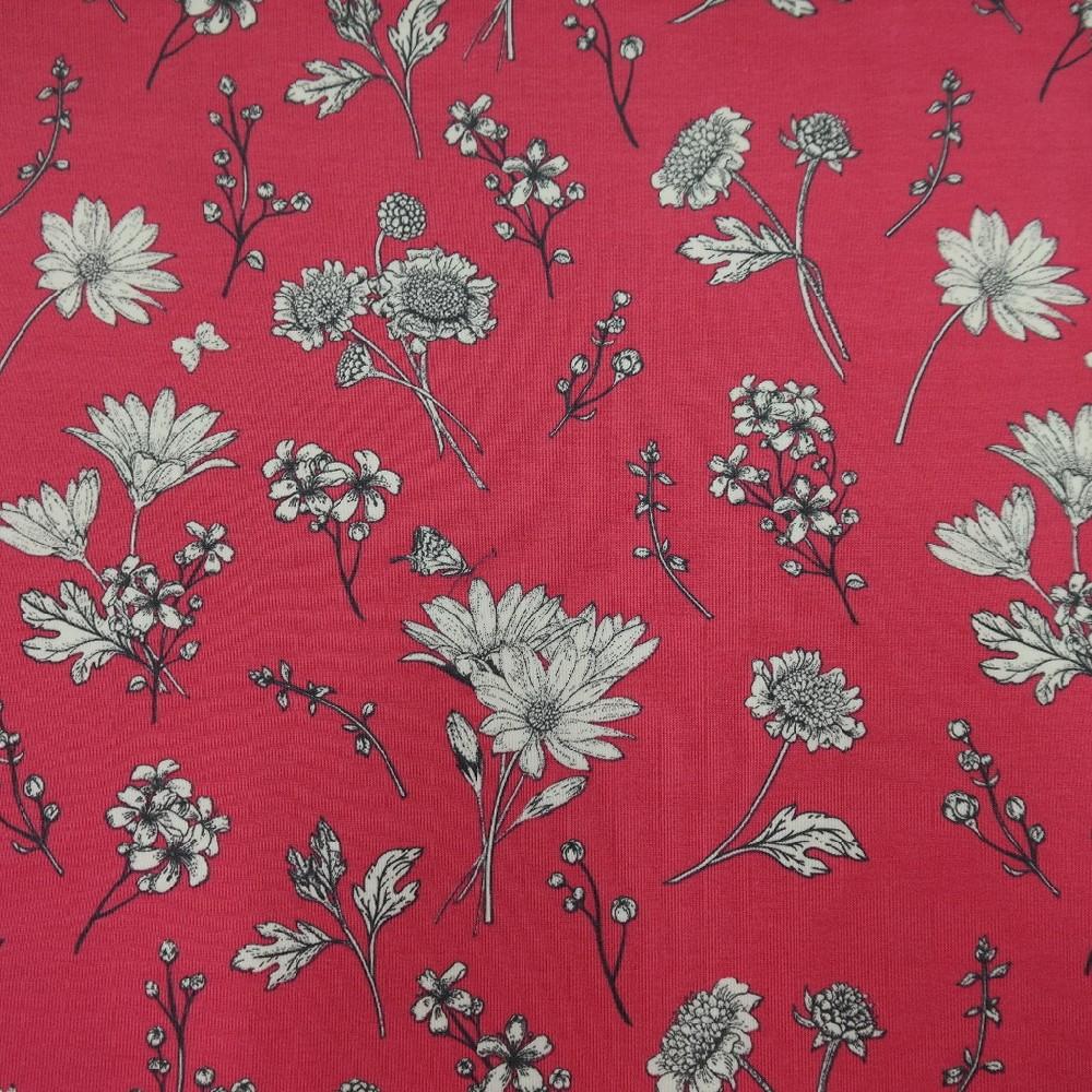 bavlna úplet malinový s květy