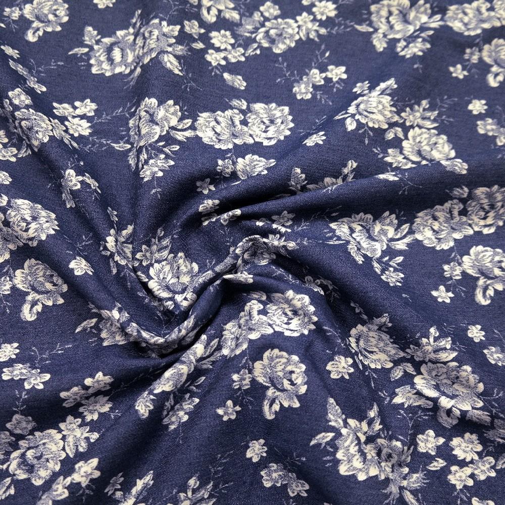 džínovina elast. tm.modrá s květy