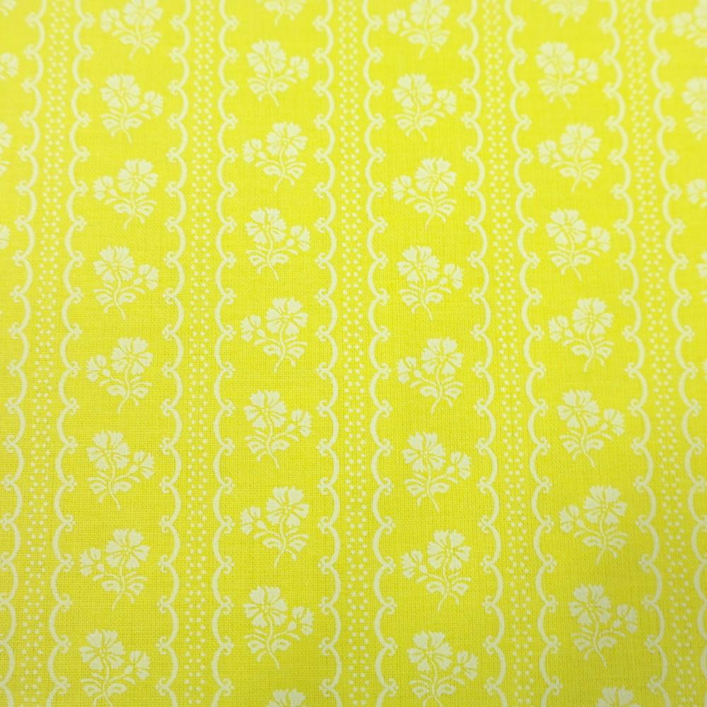bavlna žluto bílý pruh růže 140
