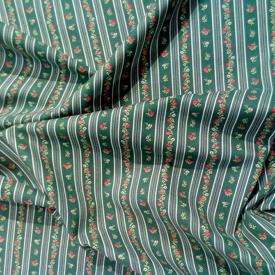 Bavlna zelená kvítek proužek