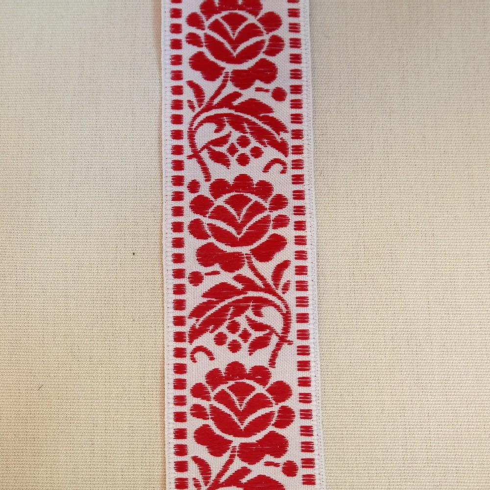 stuha vyšívaná červená výšivka