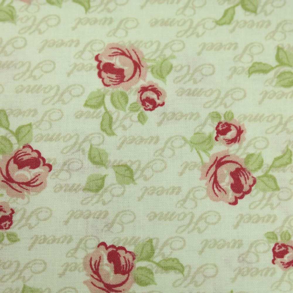 bavlna bordo růžové růže v písmiu 140 cm