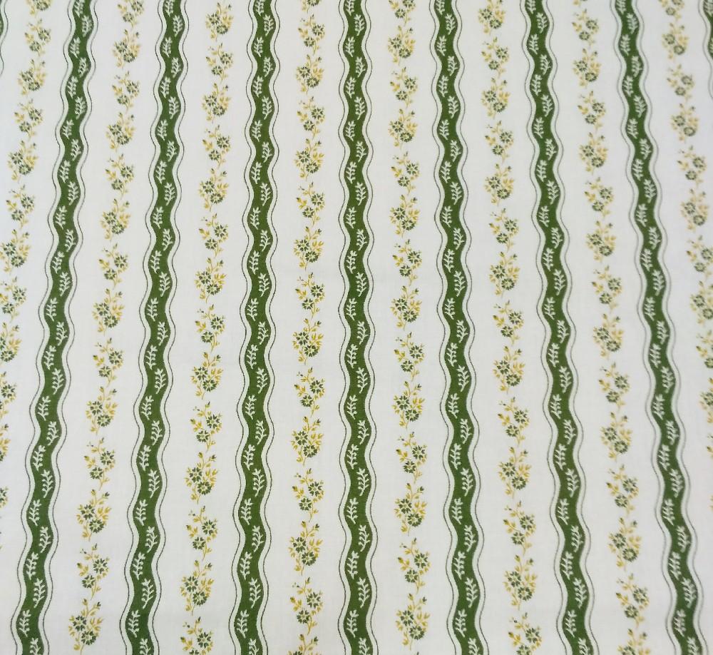 bavlna zelenobílé proužky kytičky 140cm