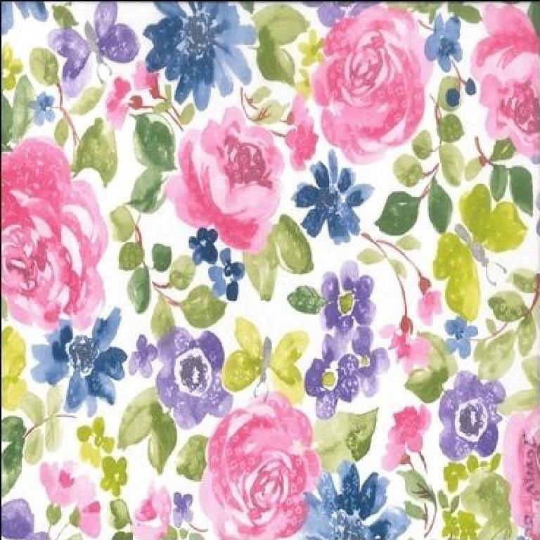 Loneta  růžovo mod.zel.růže 140