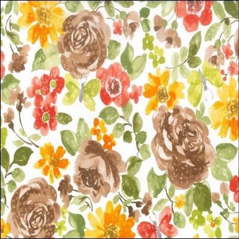 Loneta dekoračka oranž.žlu.hněd.červ.květy 280
