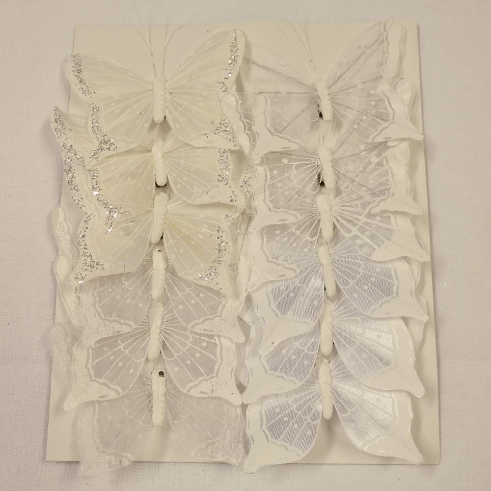 motýlci bílý třpyt 12cm