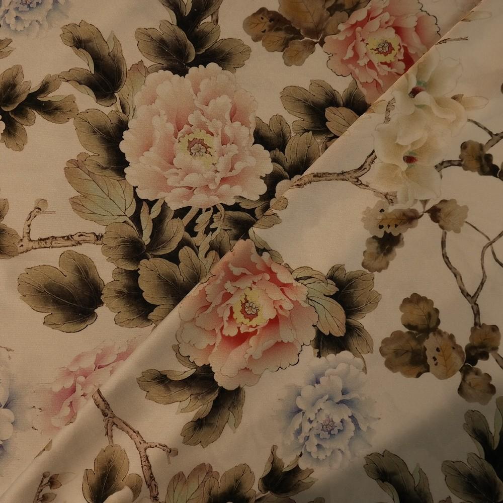 satén bříza-barevné květy