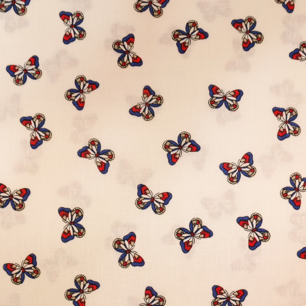popelín bílý s motýlky