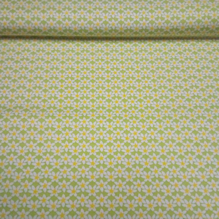 bavlna zelená kvítky 140 cm