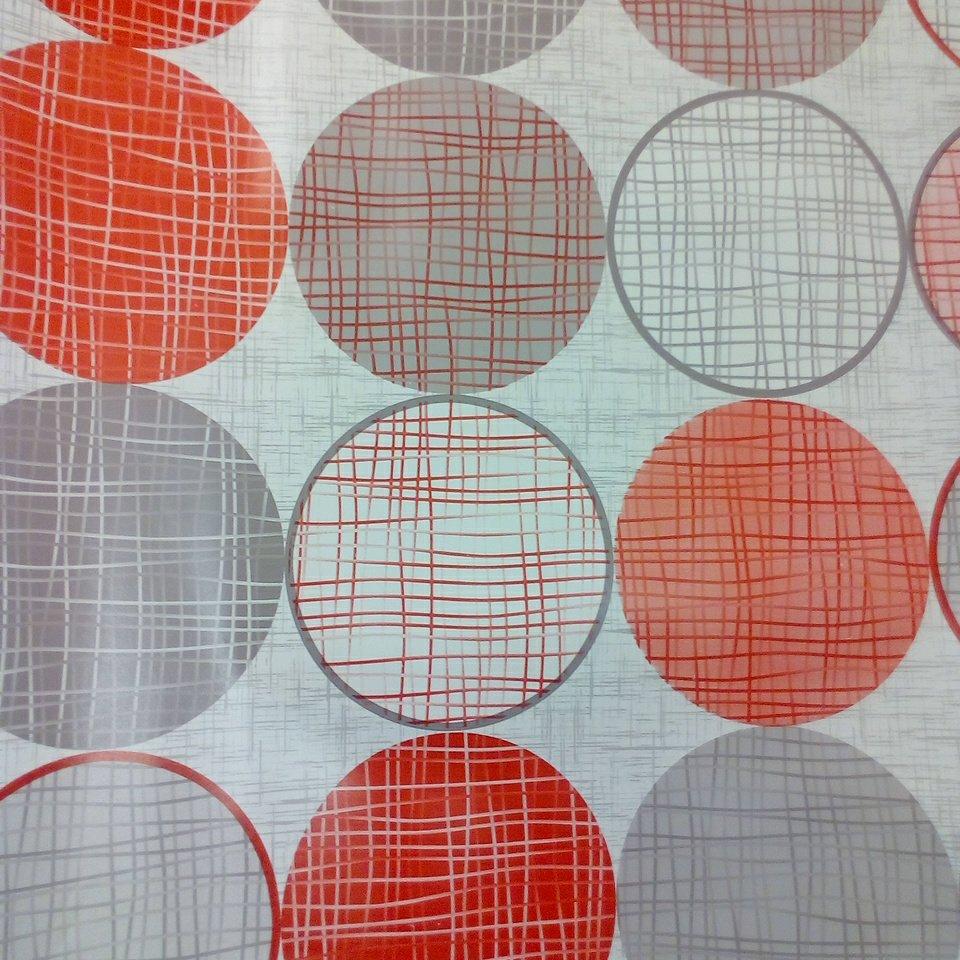 ubrus PVC červené a šedé kruhy š.140