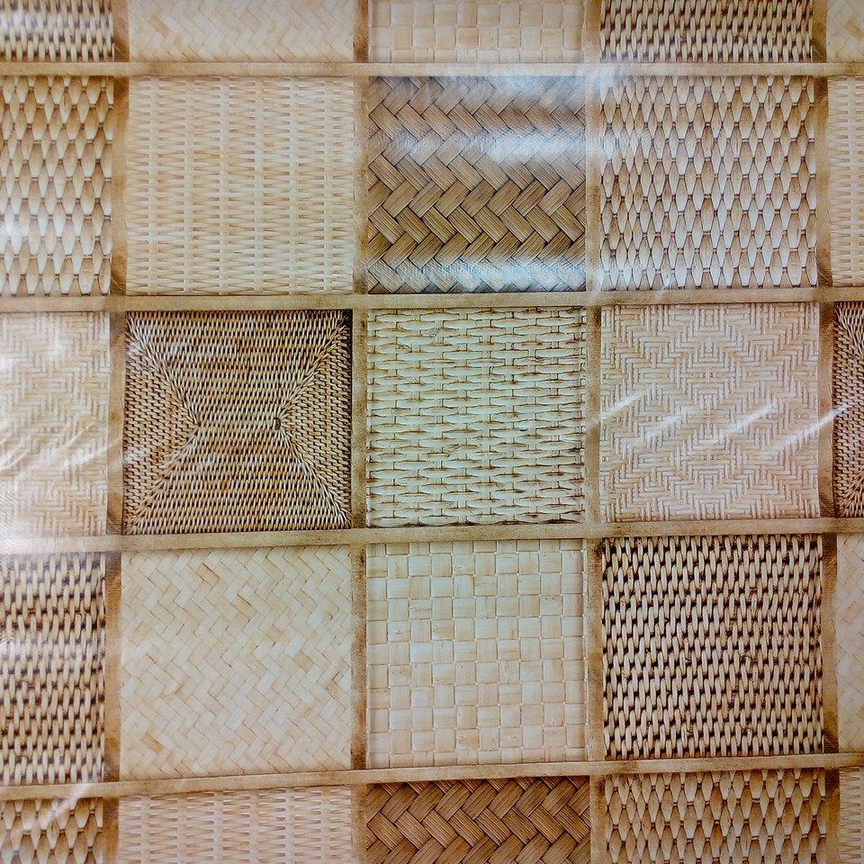 PVC ubrus proutěné kostky hnědý