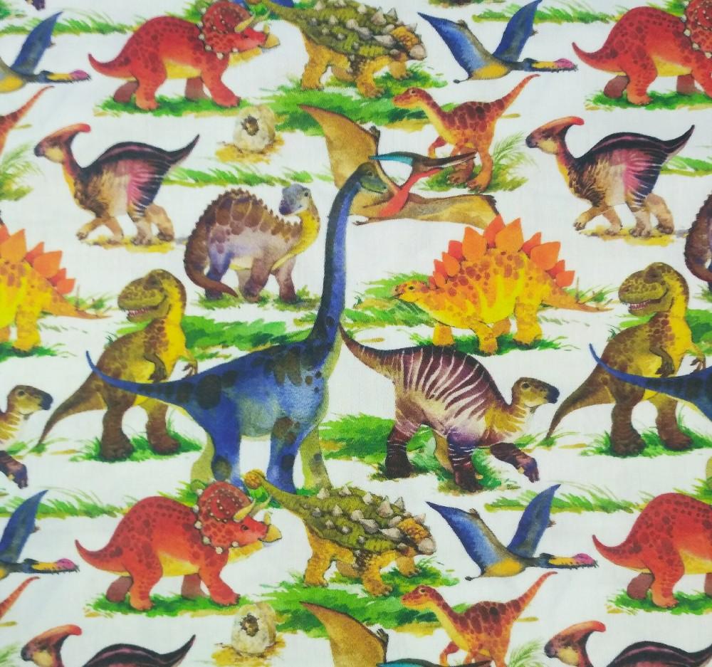 bavlna satén dinosauři 145 cm
