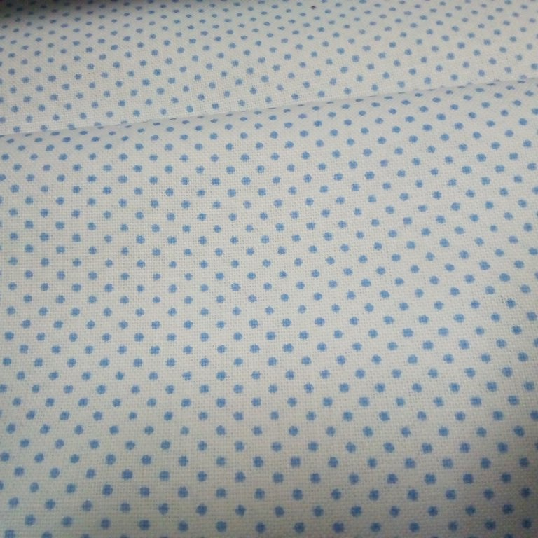 bavlna bílá modrý puntík 140 cm