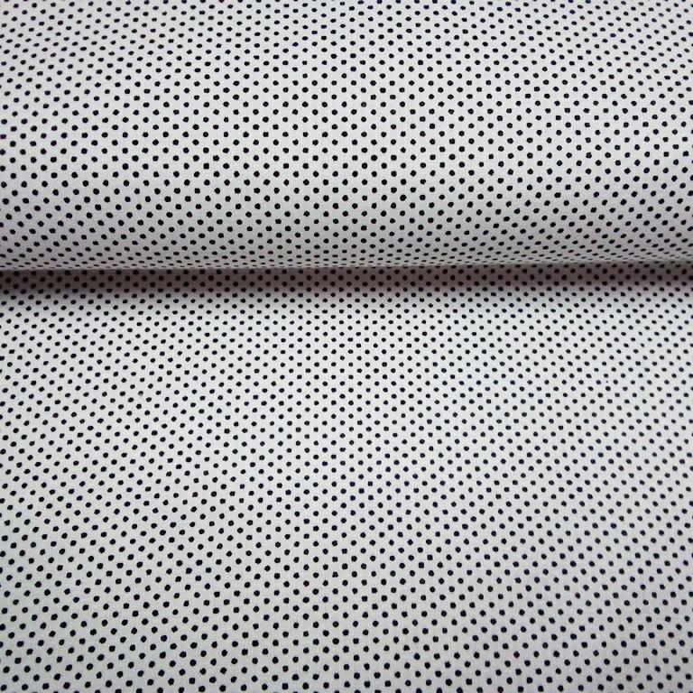 bavlna bílá černý puntík 140 cm