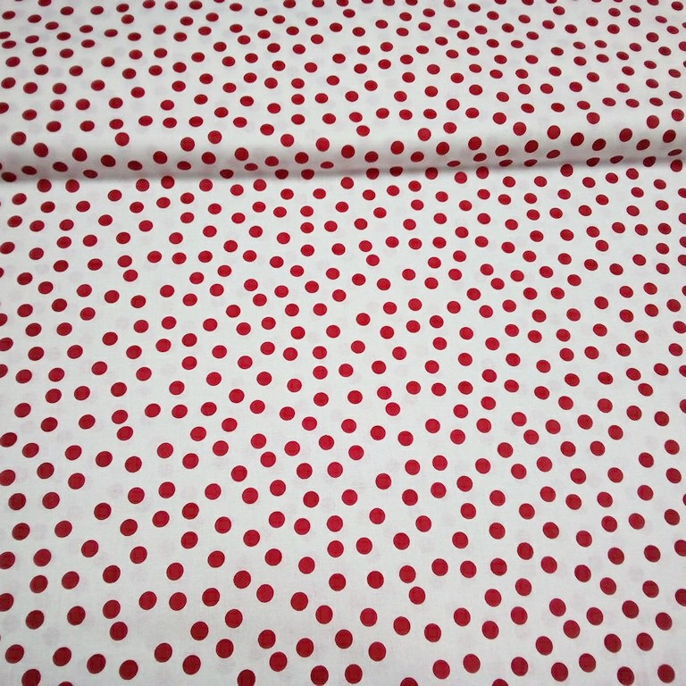 bavlna bílá červený puntík nepravidelný 140 cm