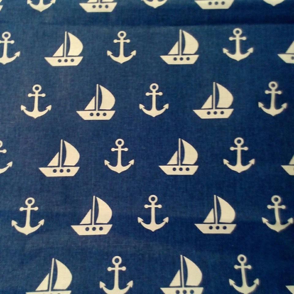 Bavlna modrá bílý plachetnice kotva