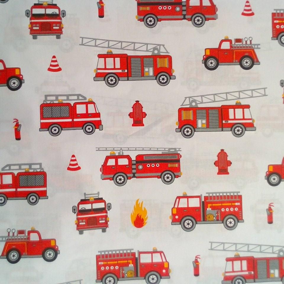 Bavlna hasiči bílá/čerbená