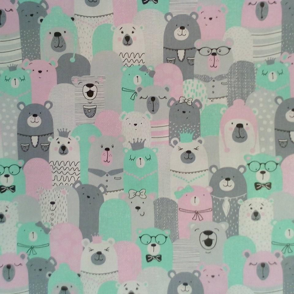 Bavlna medvědi zel/růž/šedá