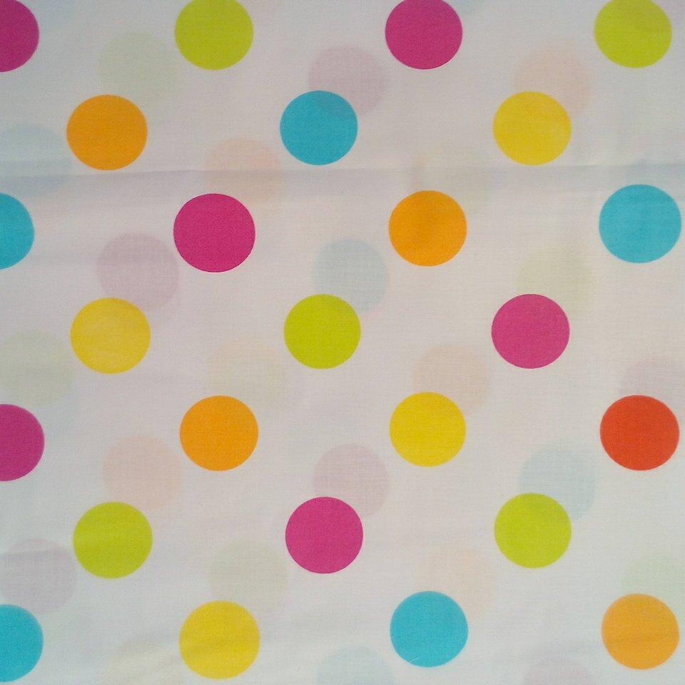 Bavlna bílá barevné puntíky