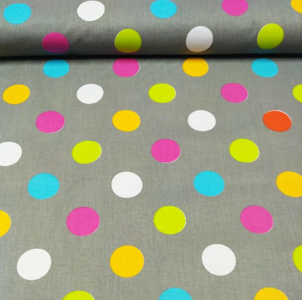 bavlna šedá barevné puntíky