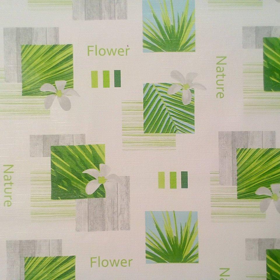 PVC ubrus bílo-zelený Flower