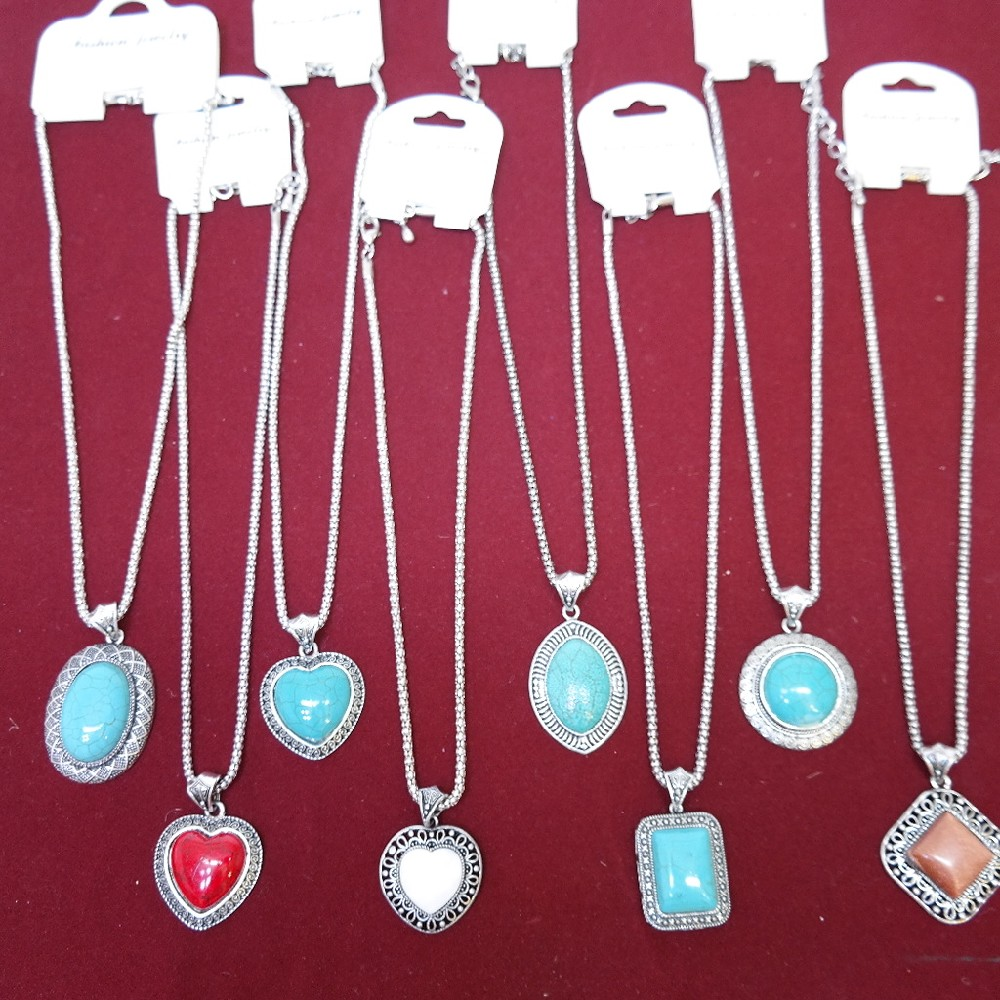 náhrdelník kov+kámen
