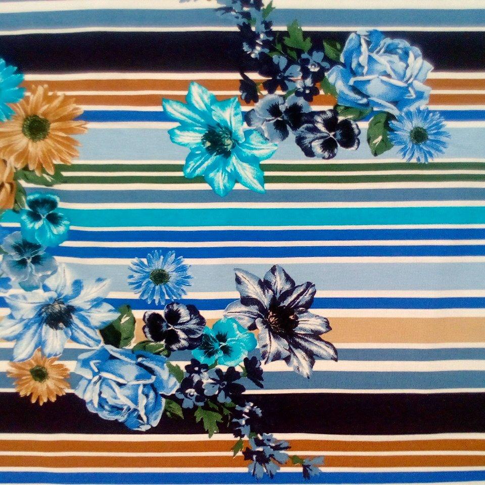 úplet pruhy + květy, modrá