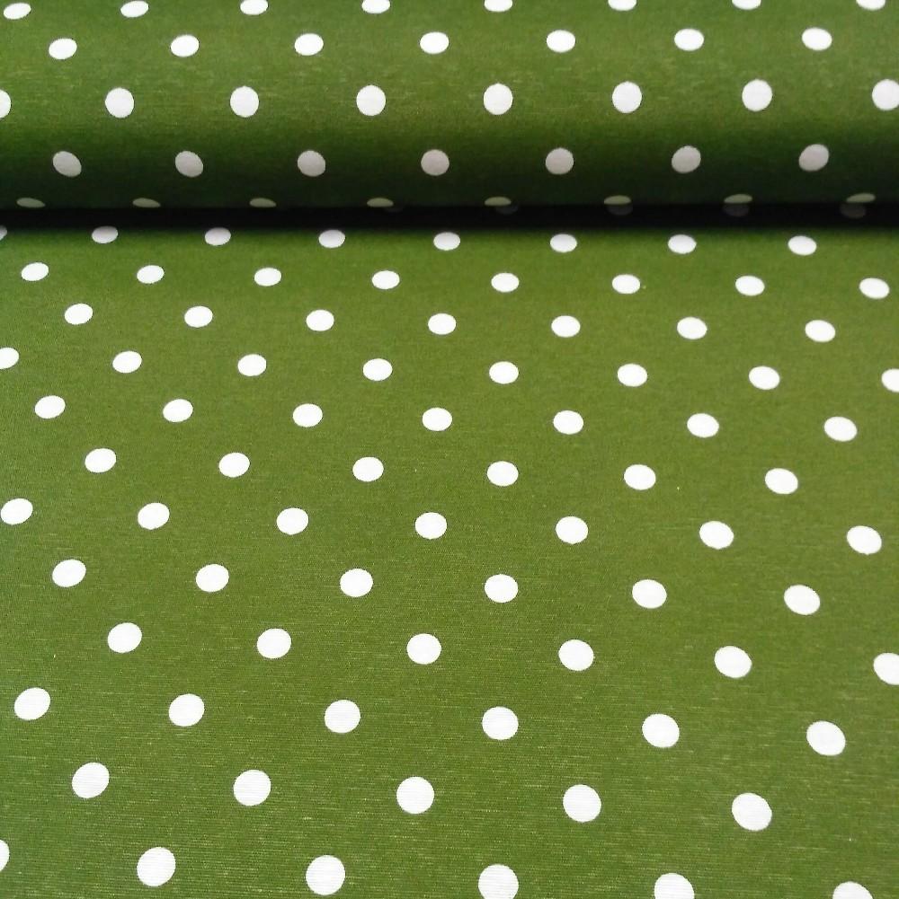 loneta zelená bílý puntík