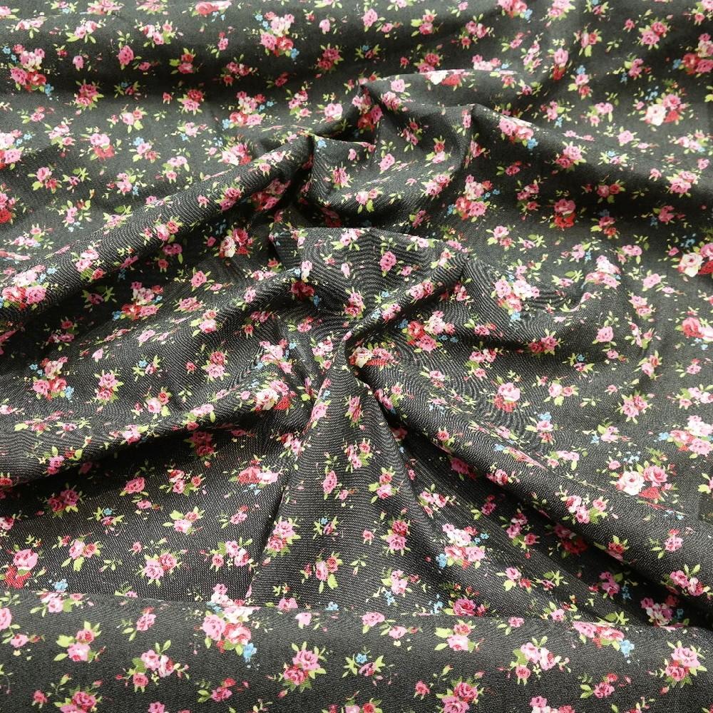 jeans elast.č/růž/zel růžičky