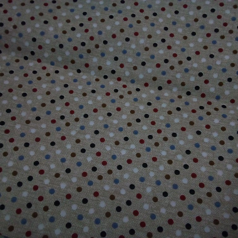 bavlna béžovo modro,bord.bílé puntíky 140 cm