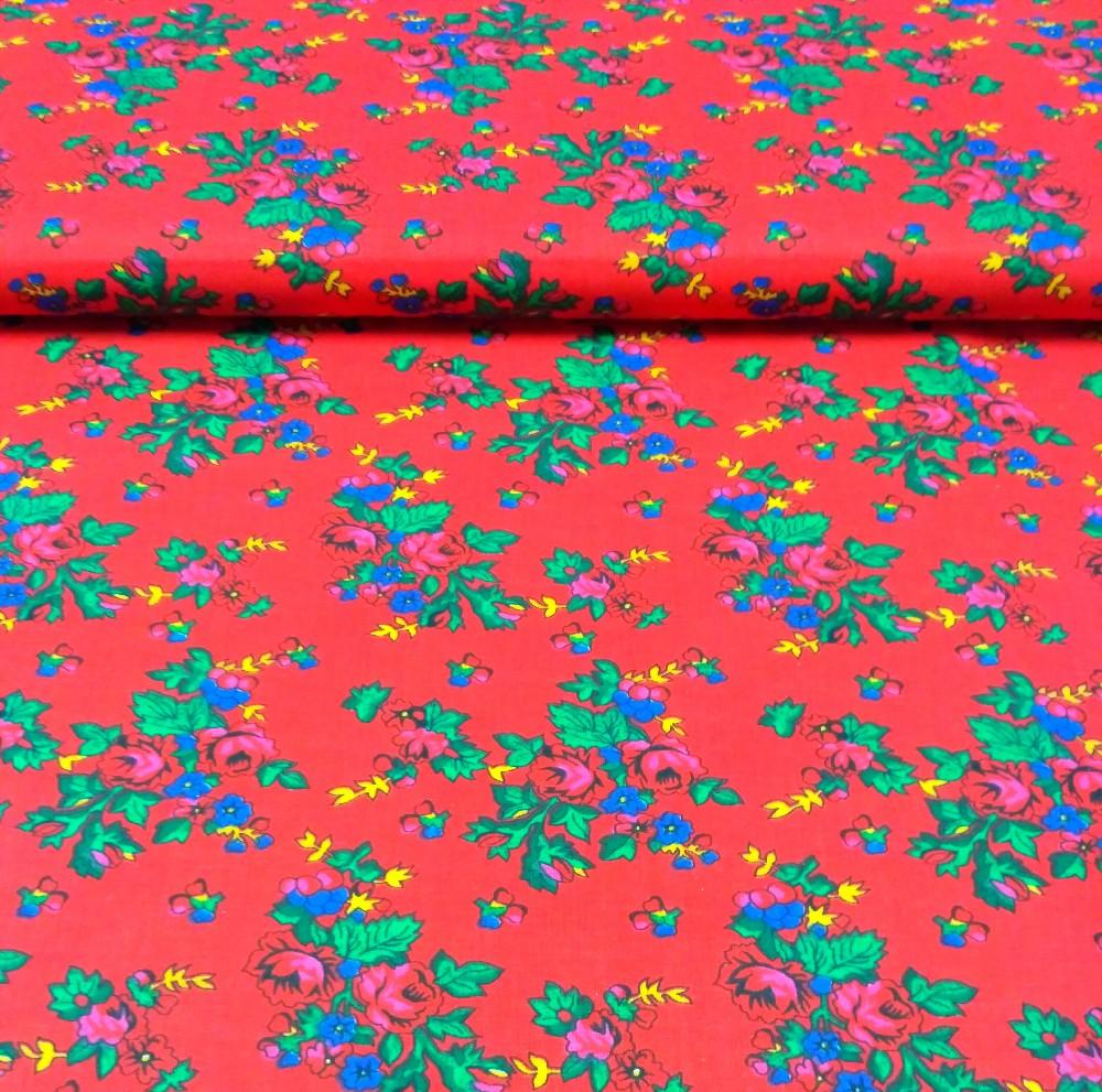 bavlna červená květy